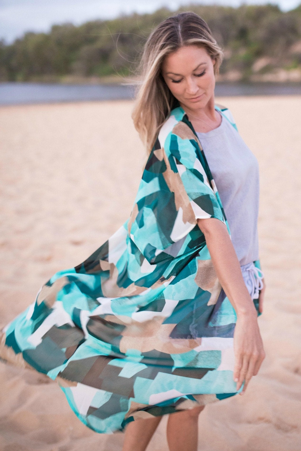 Blue, Tan and White Chiffon Kimono - available in 3 lengths!