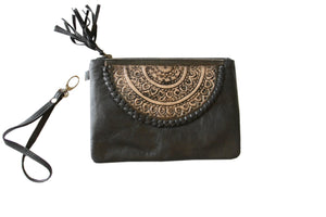 Briar Boho Pouch in soft Black leather - Kardia