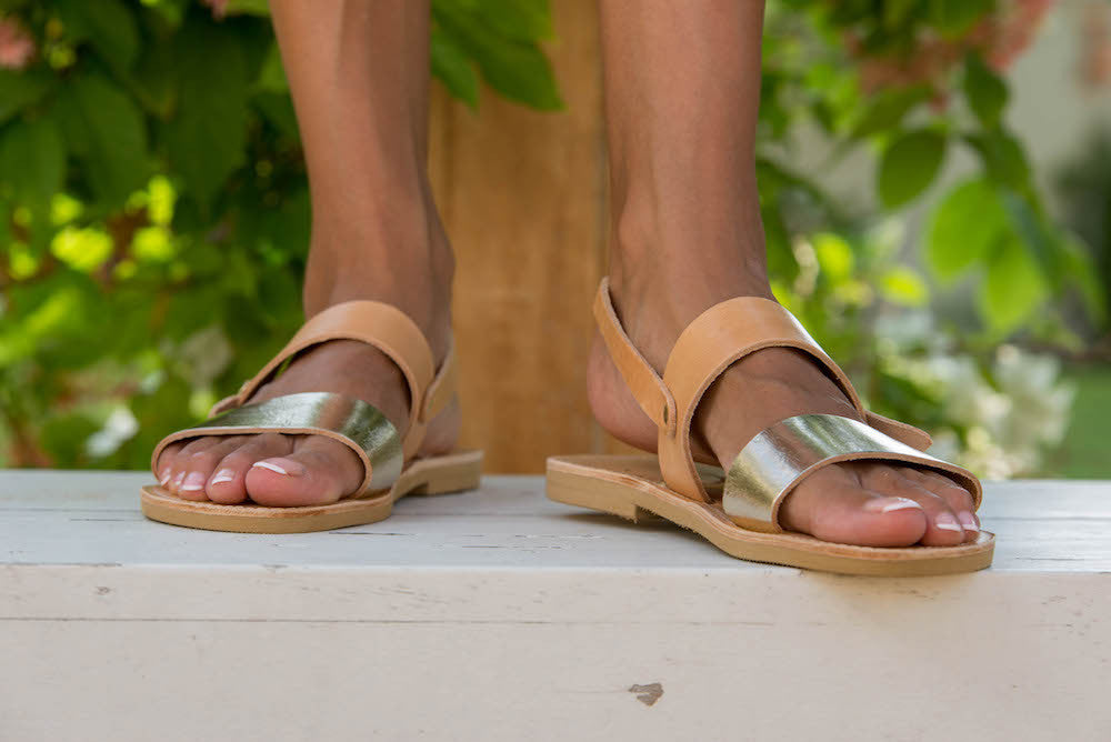 Classic Athena Sandals with Tan and Gold Straps