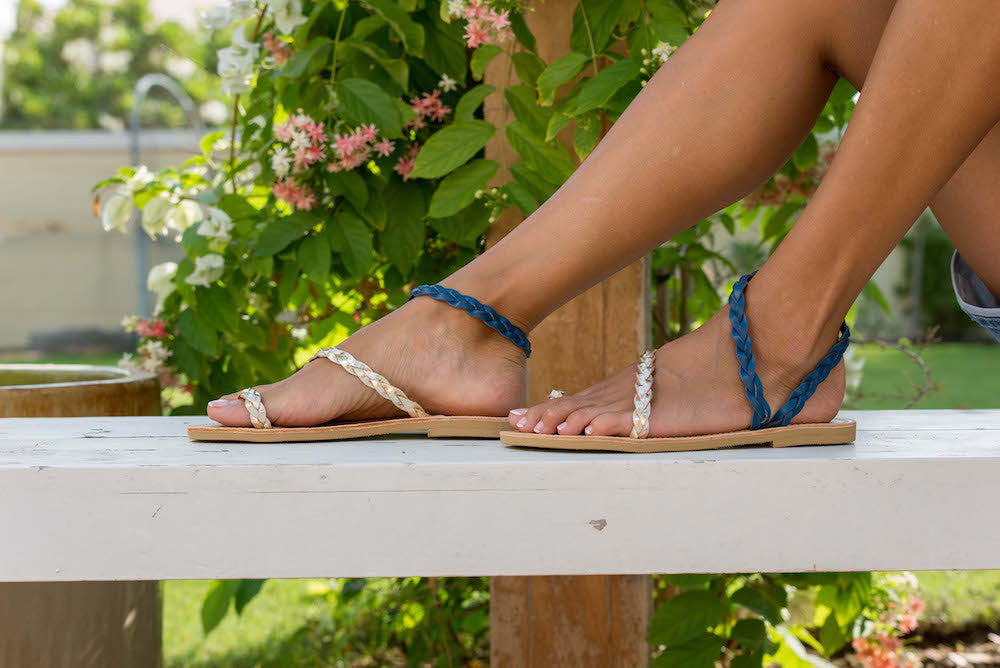 Elektra Braided Leather Sandals in Blue and Gold