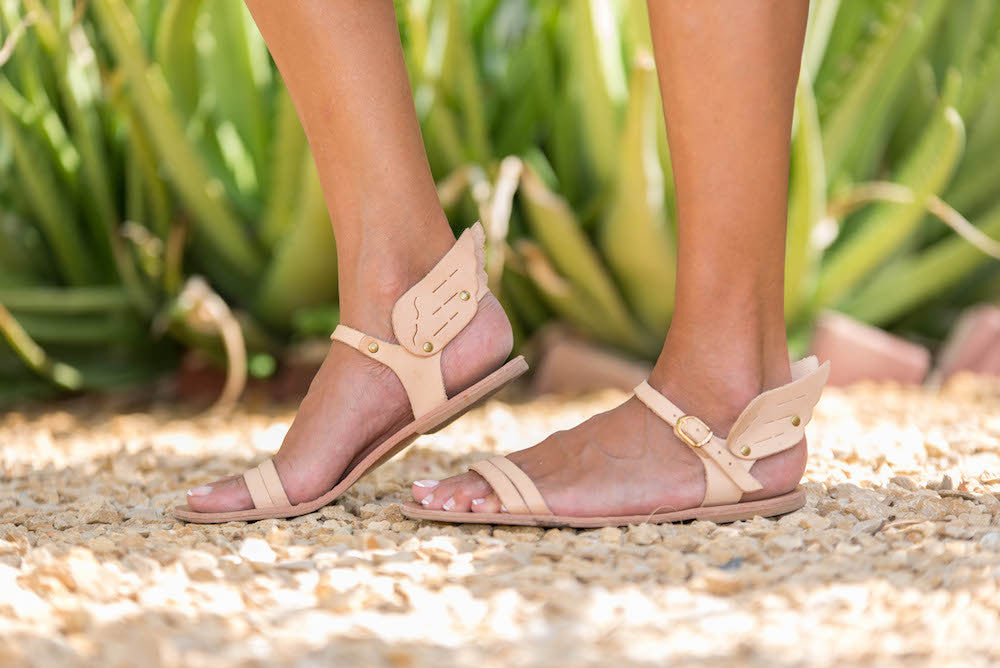 Ermes handmade leather sandals in nude colour with wings