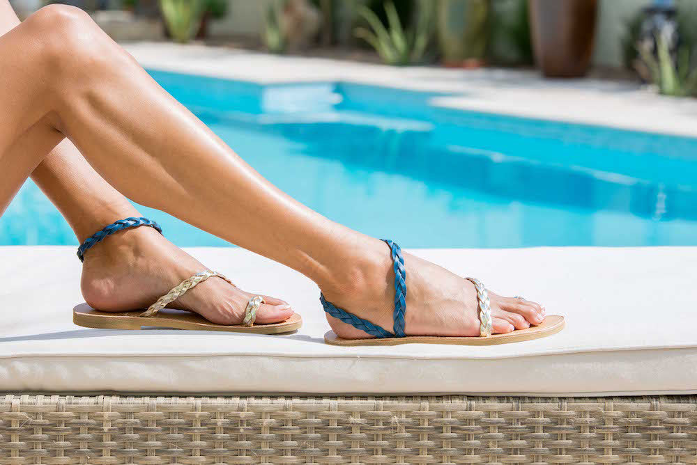 Elektra Braided Leather Sandals in Blue and Gold - Kardia