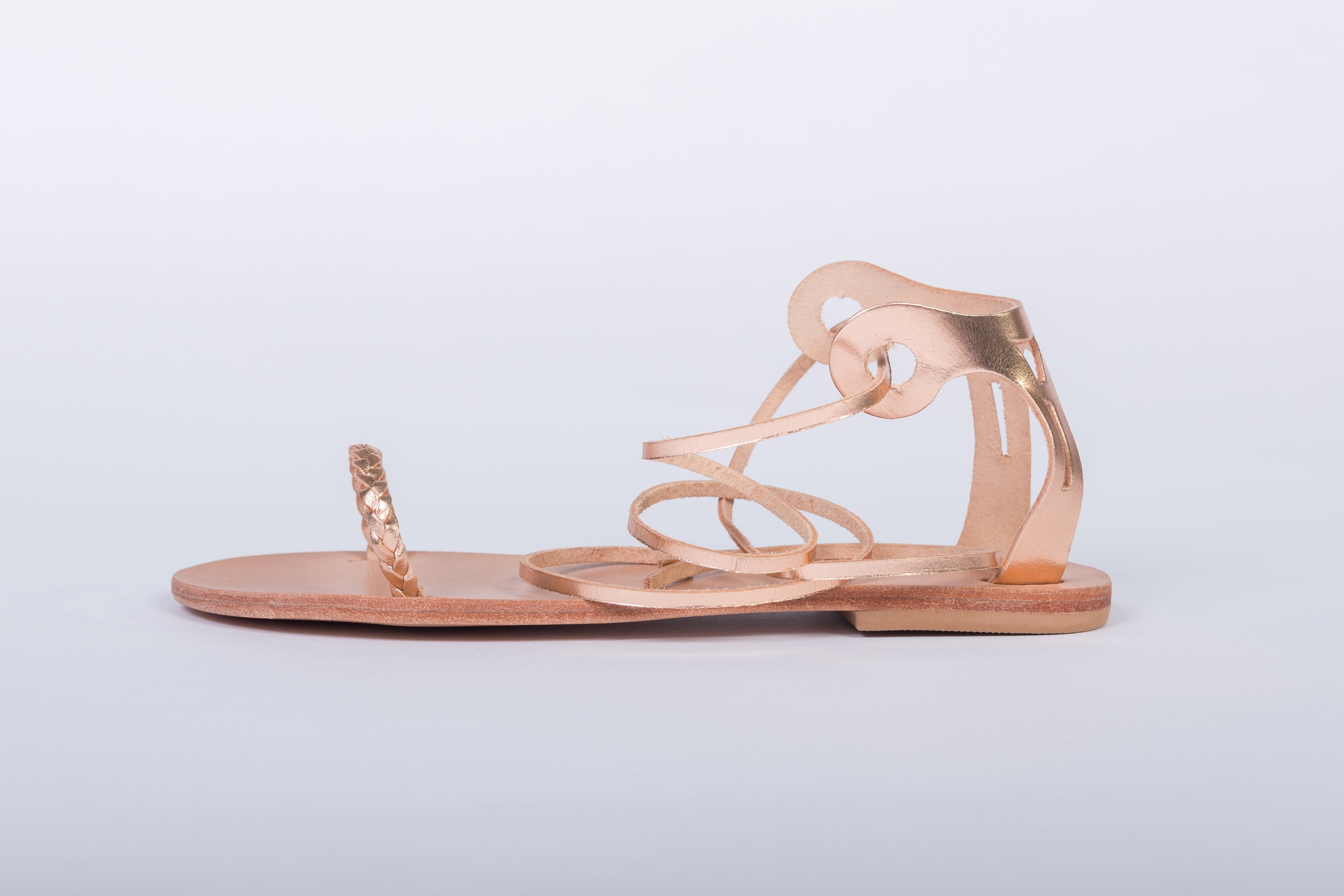 Delphi gold leather sandals boho style