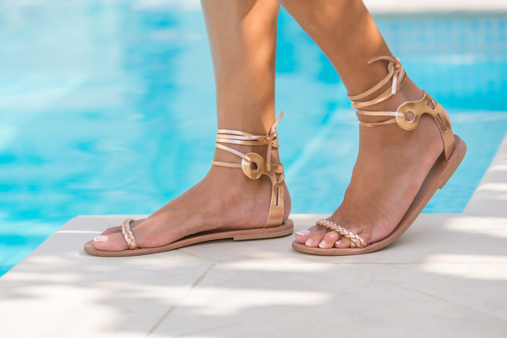 Delphi sandals in Rose Gold leather