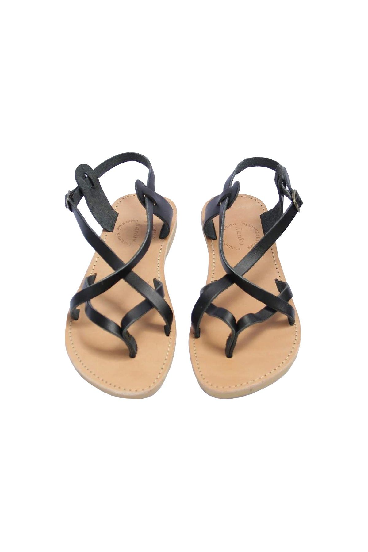 Athena Womens Sandals in Black Leather - Kardia