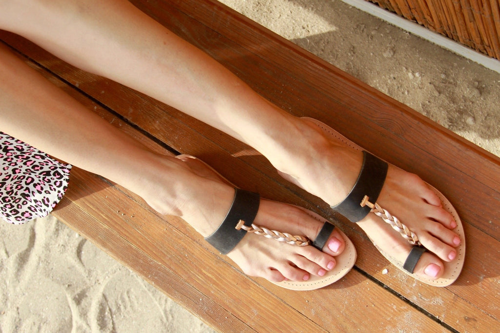 Eirenne slide sandal in matt black and rose gold handmade in leather