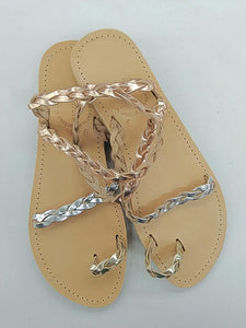 Elektra sandal with metallic gold silver and rose gold leather straps