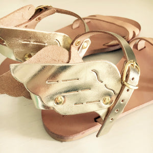 Gold wing Ermes leather handmade trend sandals