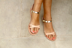 Ermes gold winged leather handmade sandals with nude strap