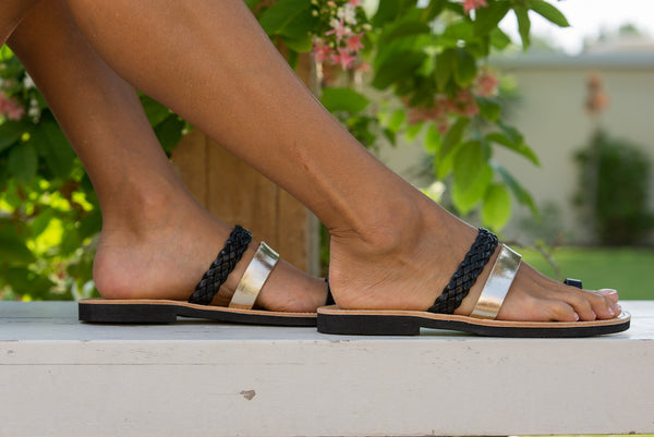 Hera Black and Gold Sandals