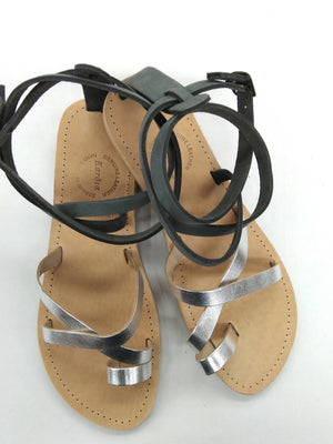 Kassia strappy shoe in soft grey and silver leather handmade in greece