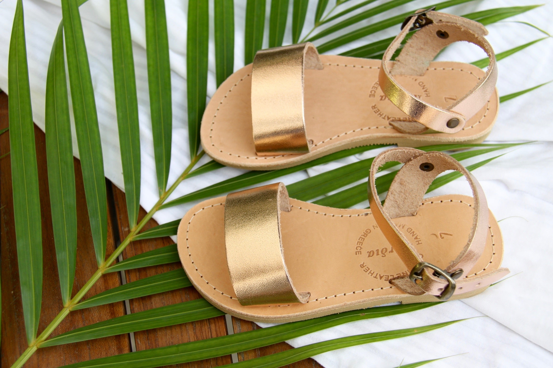 Mini Zena girls leather sandals in Rose Gold