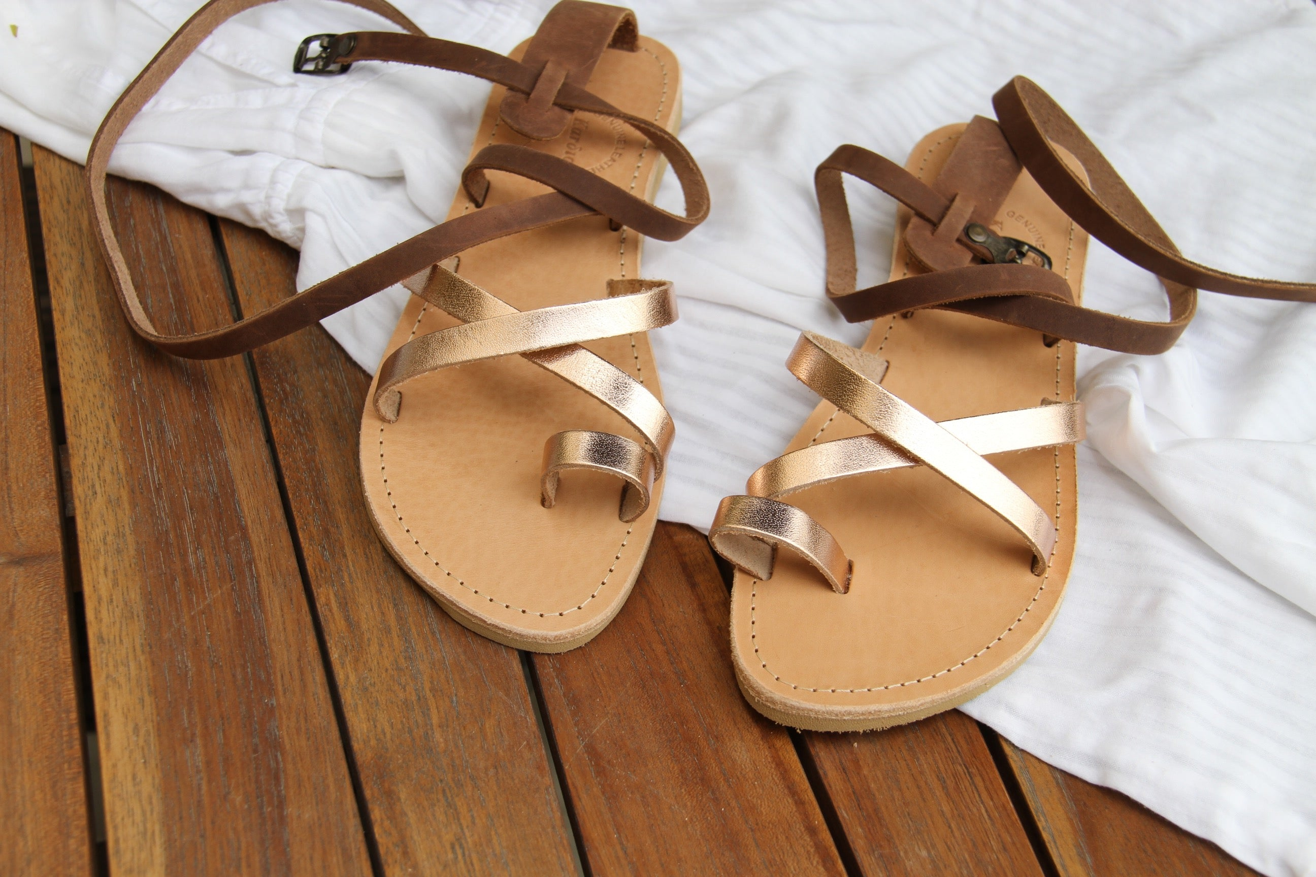 Kassia leather strap greek sandals in chocolate brown and rose gold