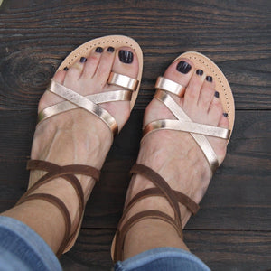 Kassia greek sandals in chocolate brown and rose gold leather
