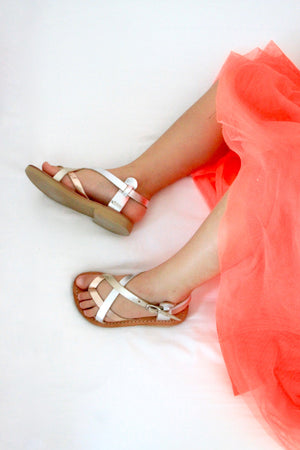 Mini Athena girls leather summer sandals in silver and rose gold