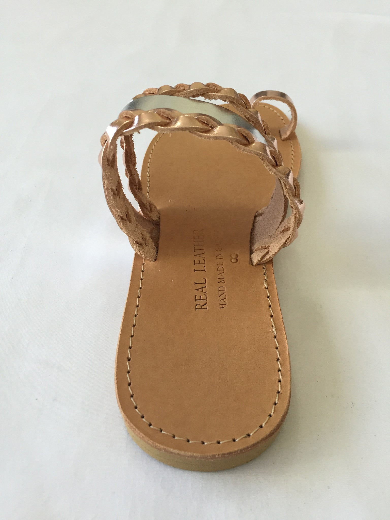 Selene Slip-on Sandals with Silver and Rose Gold Leather Straps