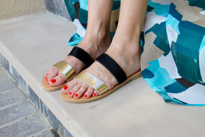 Calla Sandals in Black Ponyskin and Gold Leather - Kardia