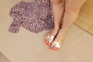 Maia rose gold leather sandals with an across foot strap