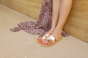 Maia slip on sandals in rose gold leather with an across foot strap