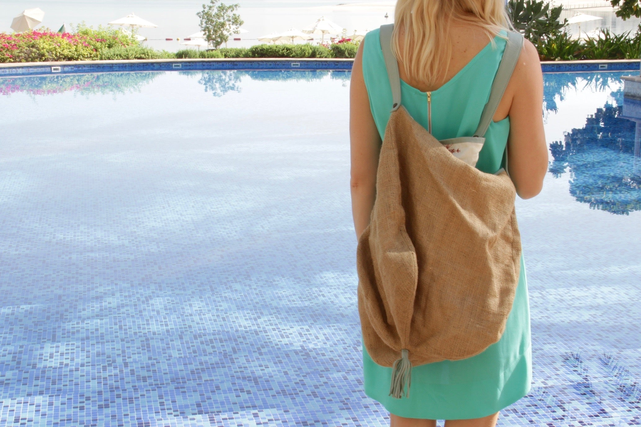 Besea Beach bag in natural ochre & cloud leather trim with waterproof interior