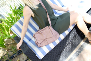 Sui Midi messenger hand bag in soft rose brown leather