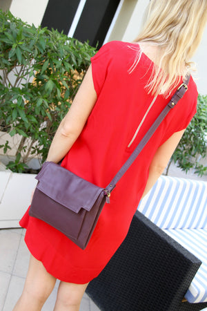 May Clutch or Shoulder bag in Aubergine leather with Removable Strap