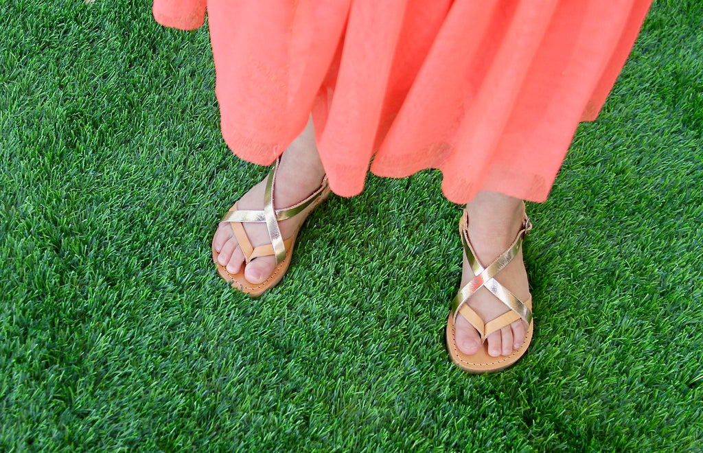 Mini Athena sandals Girls in Tan and Rose Gold leather
