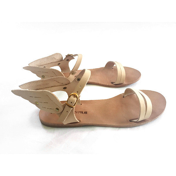 Ermes winged sandals in nude coloured leather
