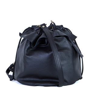Jojo Midi round bag in black leather