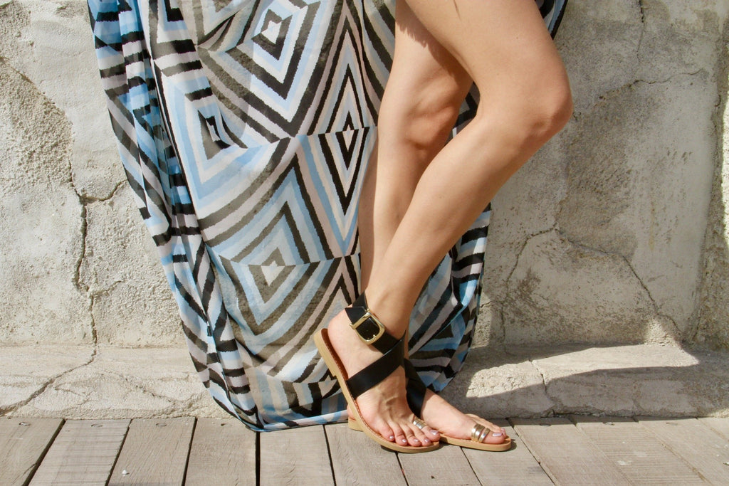 Pasha Sandals in Liquorice Black and Gold Leather - Kardia