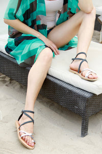 Kassia leather sandal in distressed grey and silver straps