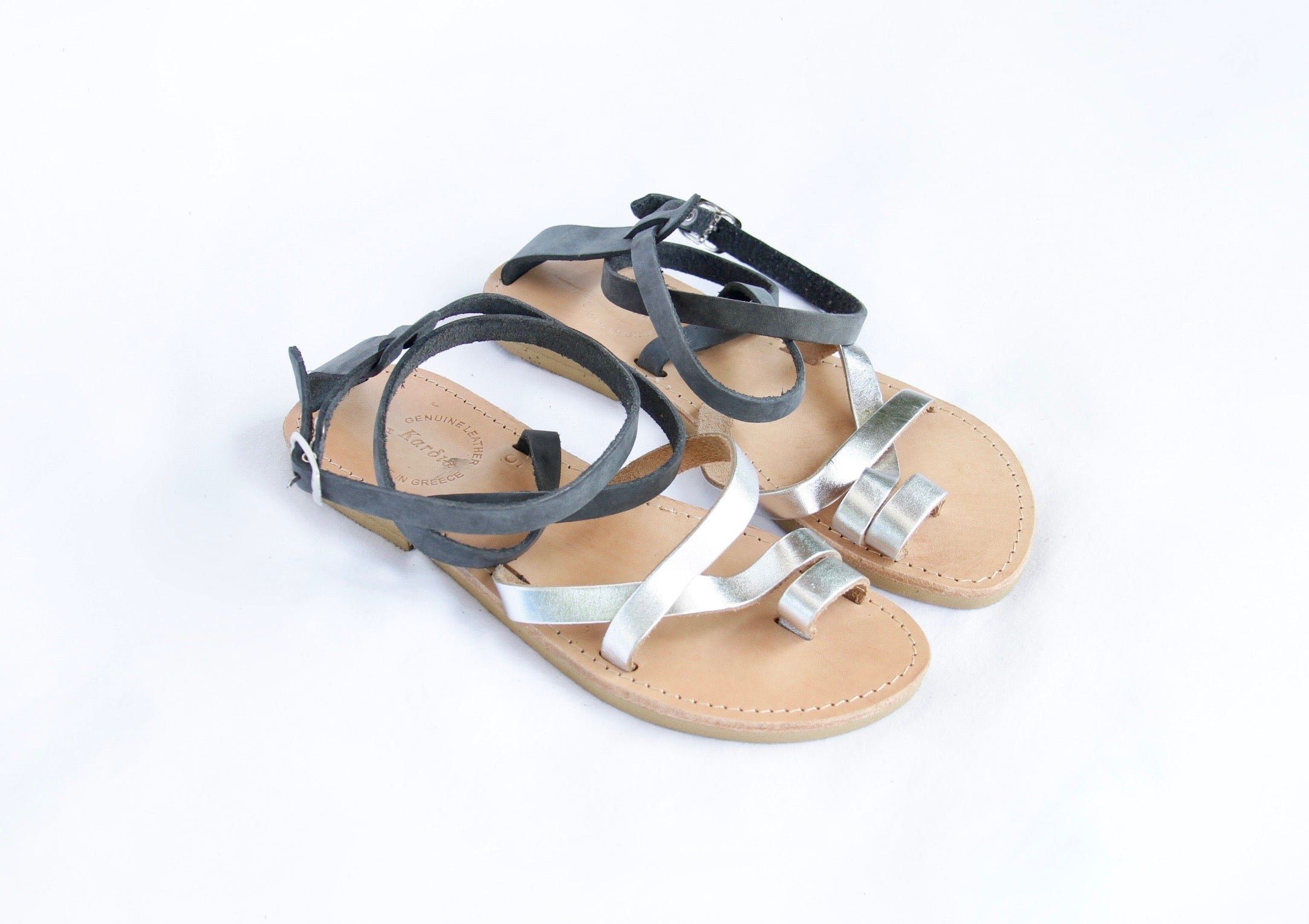 Kassia Sandals with Distressed Grey & Silver Leather Straps - Kardia