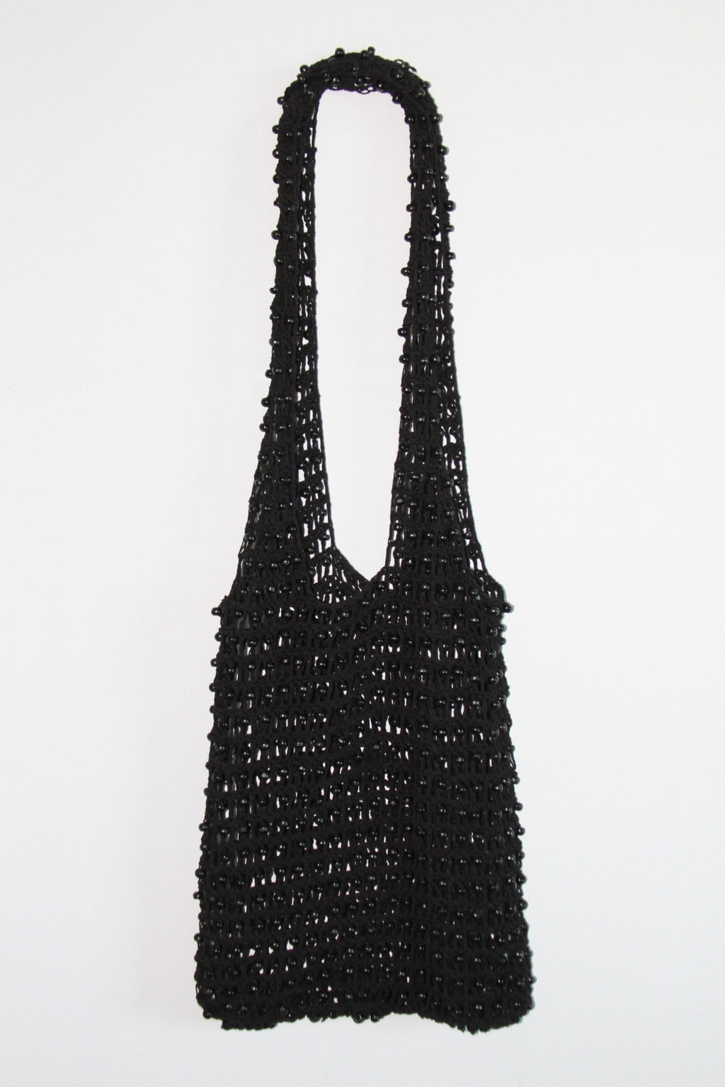 Beaded Shoulder Bag in Midnight Black Cotton - Kardia