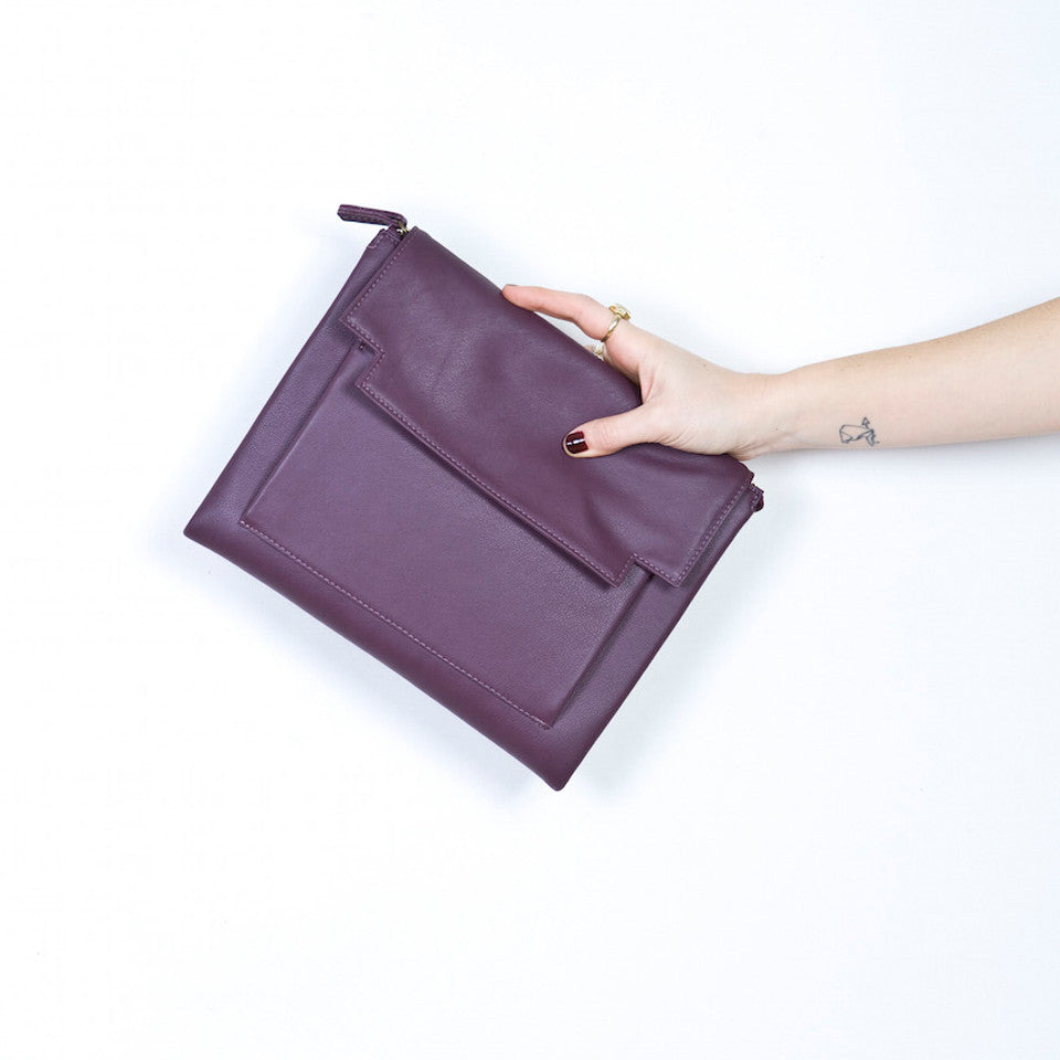 May Clutch bag in Aubergine leather with removable strap