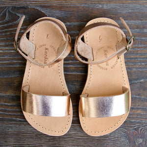 Mini Zena kids sandals in Rose Gold leather