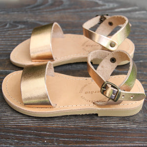 Mini Zena girls leather summer sandals in Rose Gold