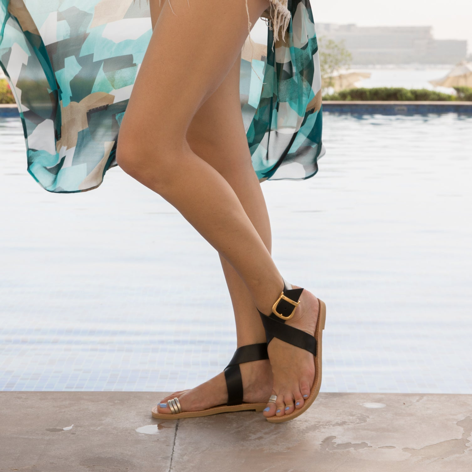 Pasha black and gold leather strappy sandals