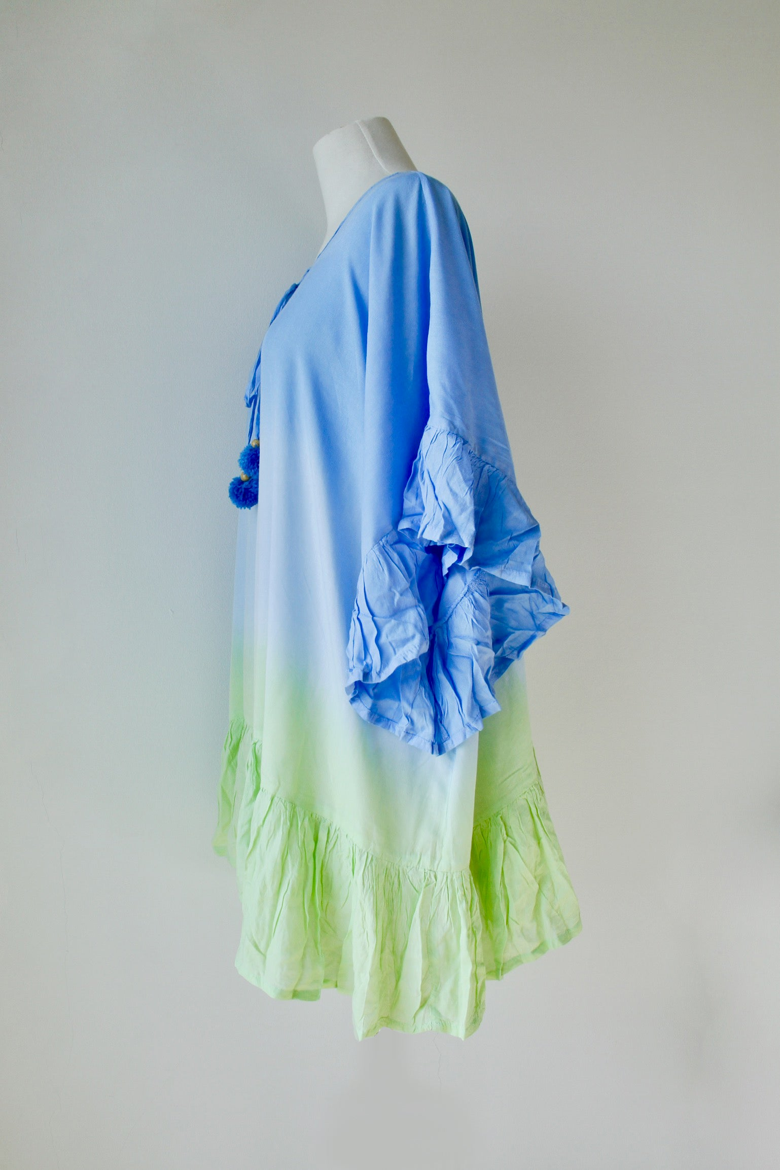 Pom Pom Cover Up in Graduated Blue and Lime - Kardia