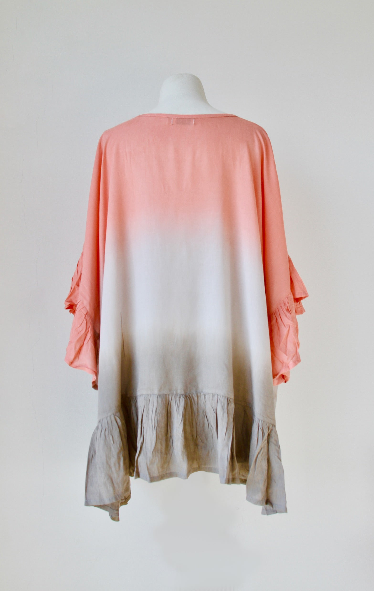 Pom Pom Beach Cover Up in Graduated Coral Stone - Kardia