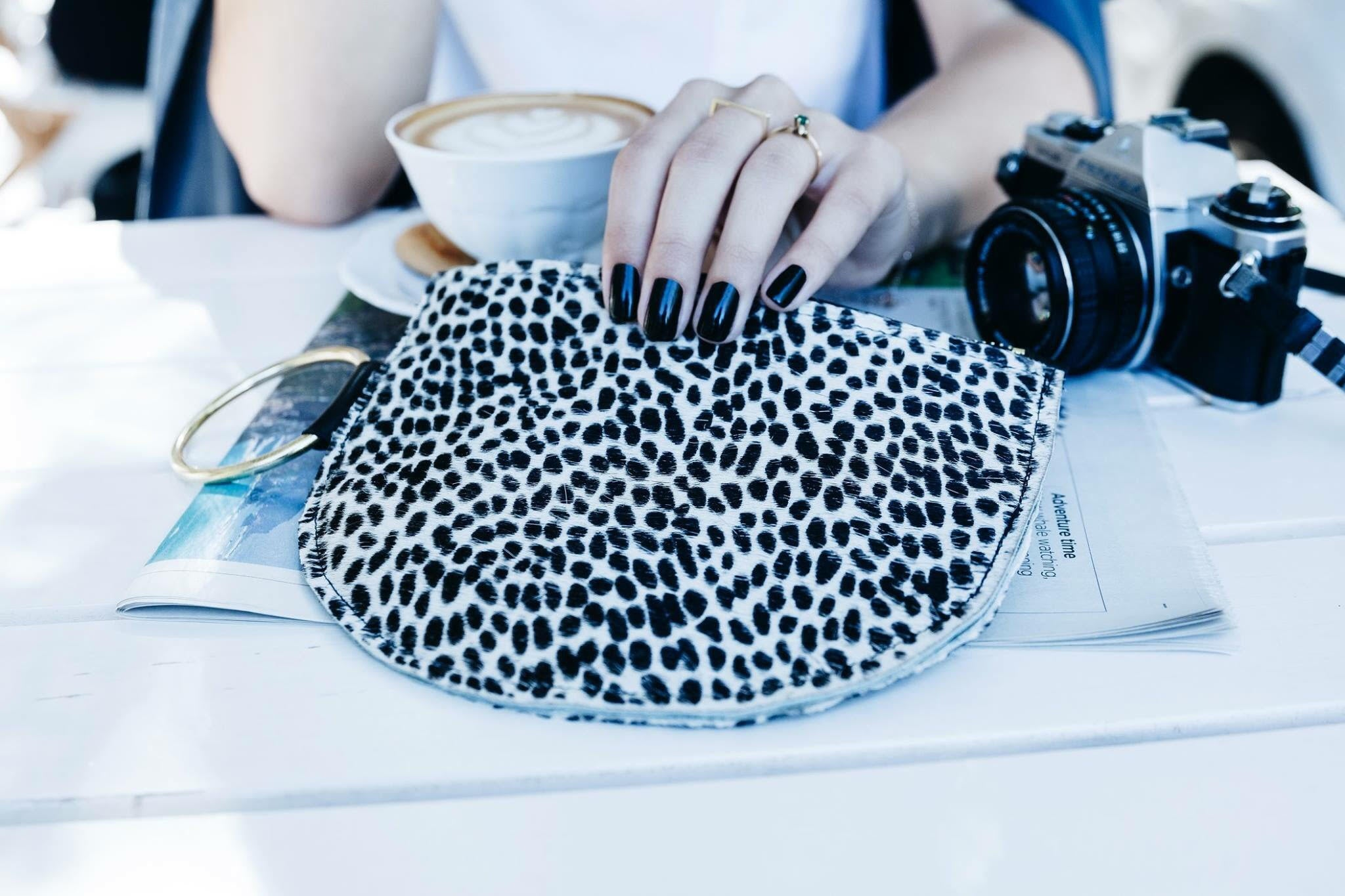 Ponyskin Clutch Black and White