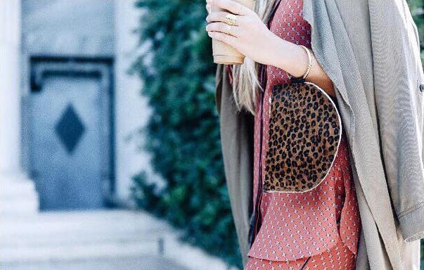 Leopard print clutch bag in Leather