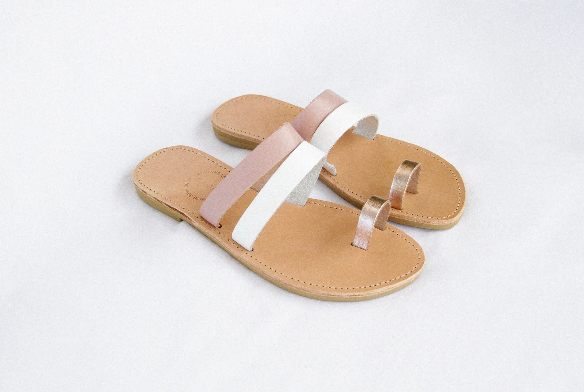 Sophia Sandals in Nude, White and Rose Gold Leathers - Kardia