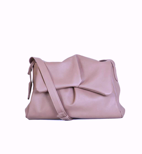 Sui Midi leather messenger bag in Rose brown