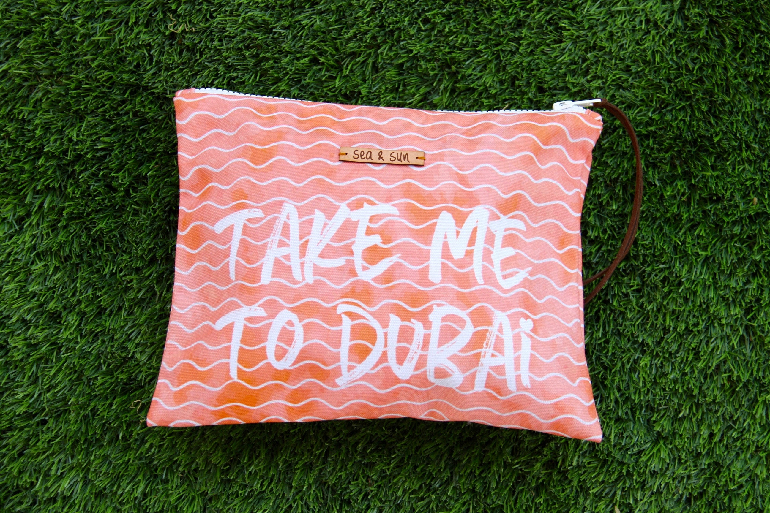 Take me to Dubai waterproof lined beach pool or travel bag