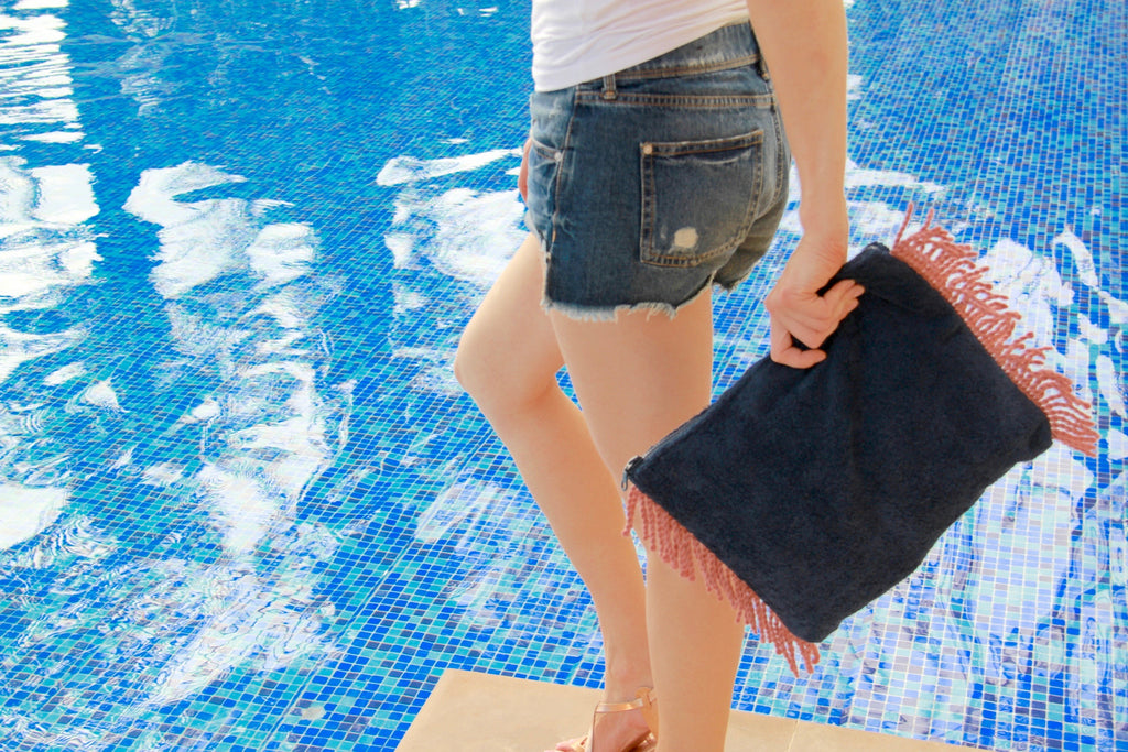 Beach Towel navy Clutch Bag with pink tassels