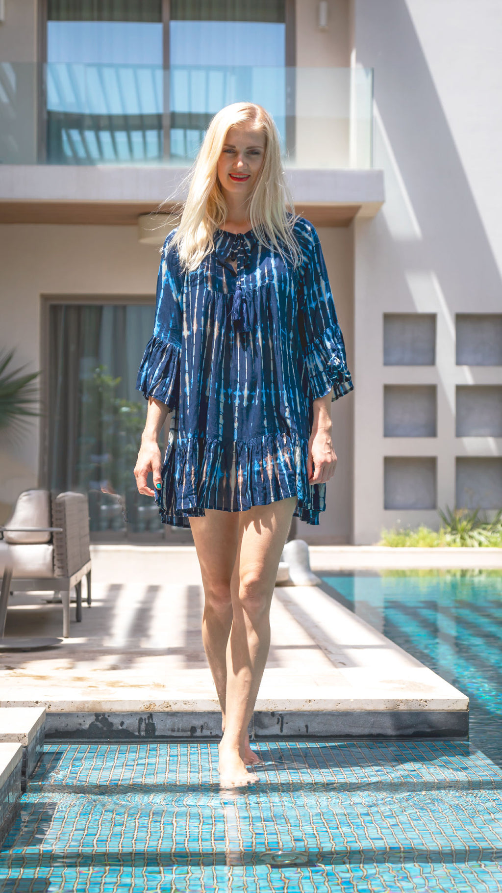 Lovina Loose Cotton Beach Dress in Navy Blue Tie Dye - Kardia