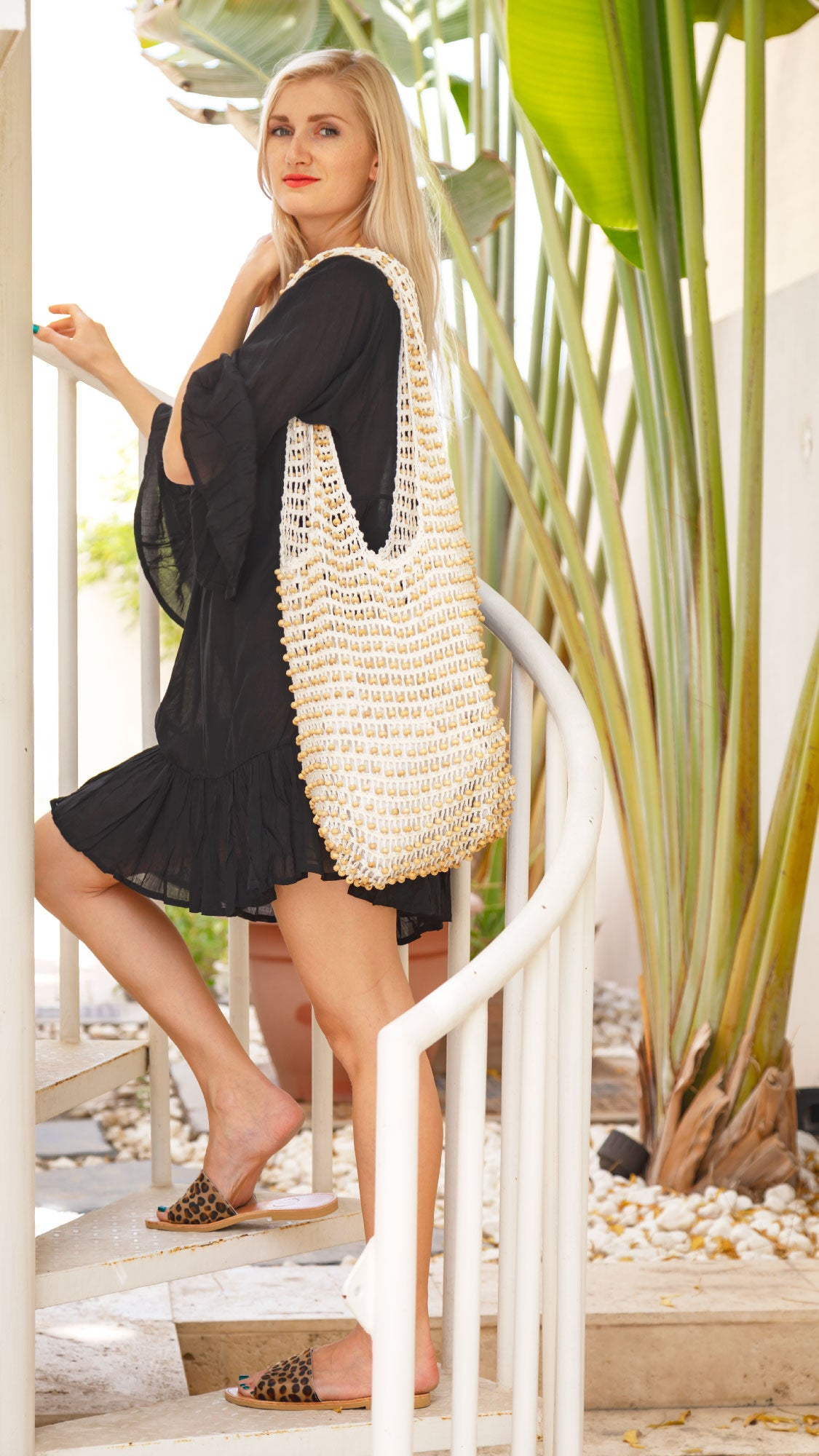Beaded Shoulder Bag in Vanilla Cream Cotton - Kardia