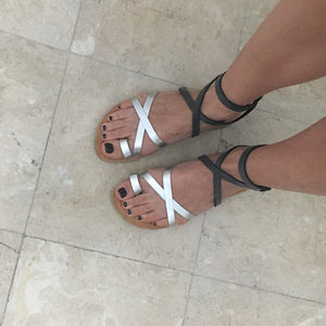 Kassia sandal in distressed grey and silver leather straps