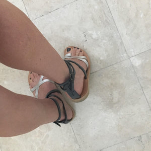 Kassia strappy sandal in grey and silver leather