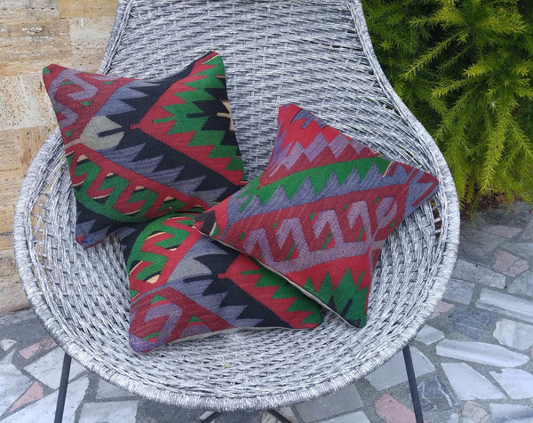 "Set of 3 Kilim Pillows 16""x16"" 40cmx40cm"